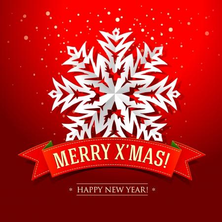 christmas design: Kerstkaart met papier sneeuwvlok en inscriptie op een rood lint Vector illustratie Stock Illustratie
