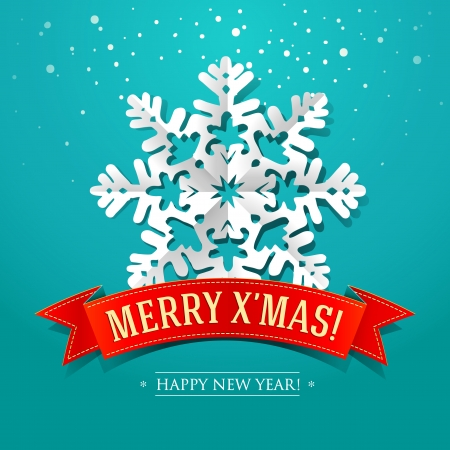 christmas stars: Christmas card with paper snowflake and inscription on a red ribbon  Vector illustration