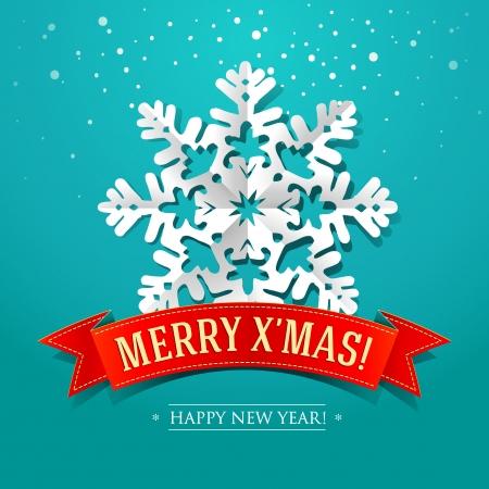 estrellas de navidad: Tarjeta de Navidad con papel de copo de nieve y la inscripción en una cinta ilustración vectorial rojo Vectores