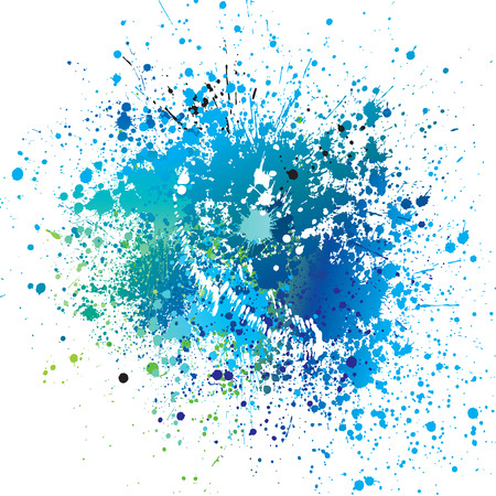 Background with blue spots and sprays  Vector illustration  Çizim