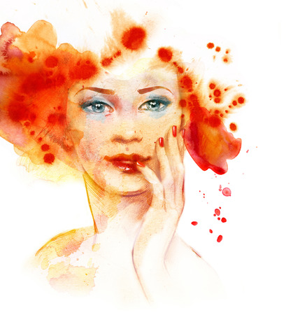 Watercolor fashion illustration of the beautiful red-haired girl  Stok Fotoğraf