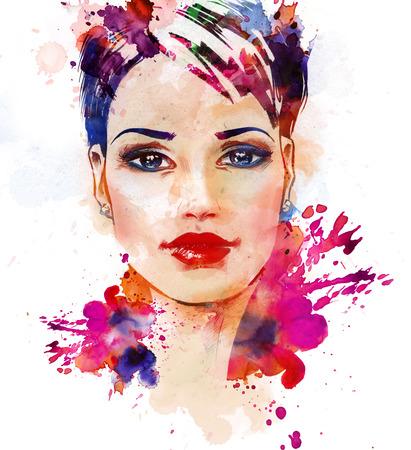 Aquarel mode-illustratie van het mooie jonge meisje