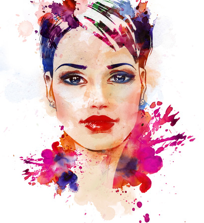 aquarelle painting art: Watercolor fashion illustration of the beautiful young girl