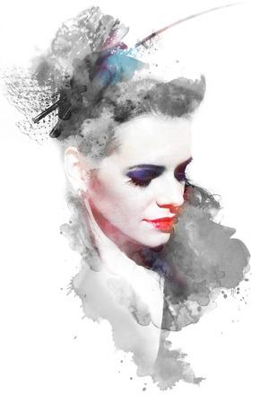 美しい若い女の子の水彩イラスト 写真素材