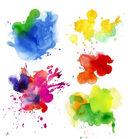 수채화 다채로운 상품의 집합 스프레이