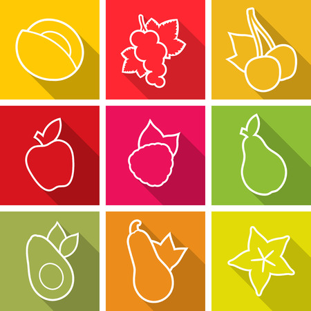 Flat design icons. Set of fruit. Vector illustration.