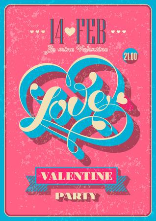 Vintage Valentine poster. Vector illustration. Çizim