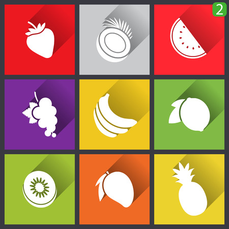 Flat design icons. Set of fruit. Vector