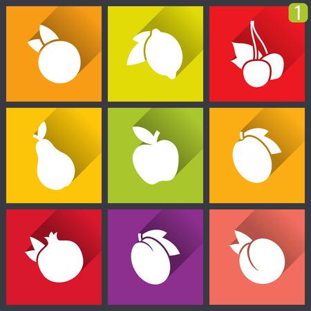 Flat design icons. Set of fruit.