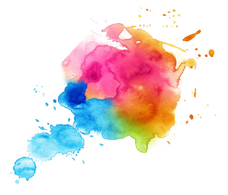 Colorful watercolor drop on a white background.