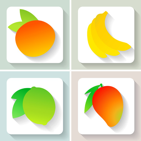 Set of flat design fruit icons.  Vector