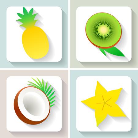 Set of flat design fruit icons.
