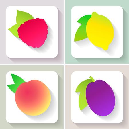 Set of flat design fruit icons. Vector illustration.