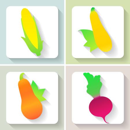 Set of flat design vegetable icons.