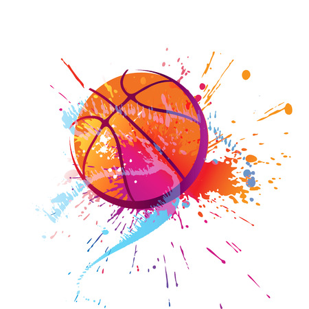 Colorful basket ball with spots and sprays on a white background . Vector illustration. Çizim