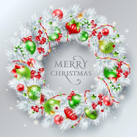 Kerstversiering. De krans gemaakt van wit dennentakken met rode en groene ballen. Vector illustratie.