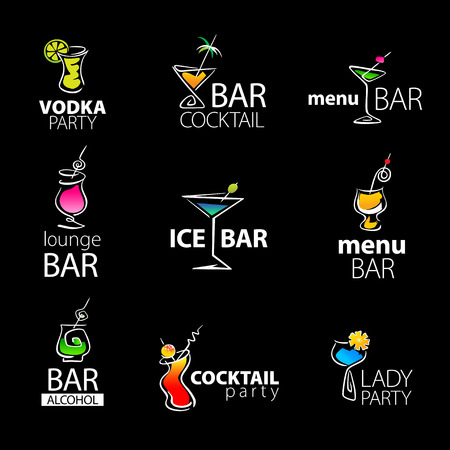 nightclub bar: Set of the cocktail bar icons on a black background. Vector illustration.