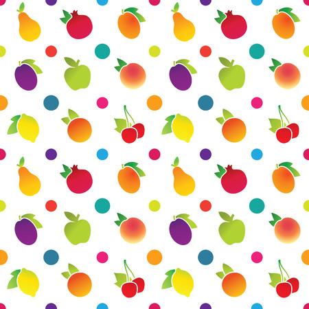 Fruit icons pattern with apple, apricot, cherry, lemon, orange, peach, pear, plum, pomegranate. Vector illustration.
