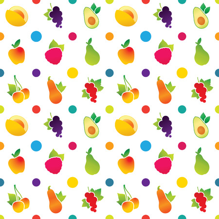Fruit icons pattern with apple, avocado, currant, cherry, melon, pear, pumpkin, raspberry. Vector illustration. Çizim
