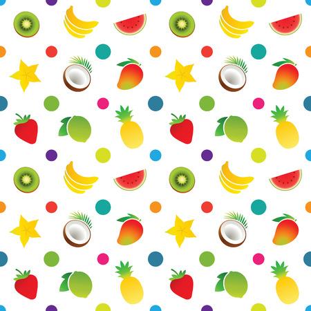 Fruit icons pattern with bananas, carambola, coconut, kiwi, lime, mango, pineapple, strawberry, watermelon. Vector illustration.