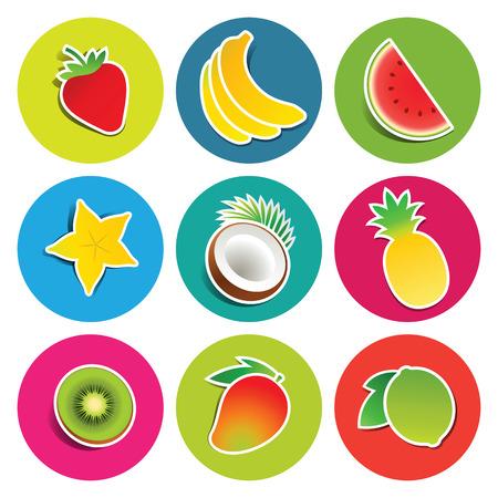 Set of fruit icons in the circles: bananas, carambola, coconut, kiwi, lime, mango, pineapple, strawberry, watermelon. Vector illustration.