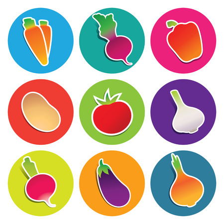 beetroot: Set of vegetable icons in the circles: beetroot, carrot, eggplant, garlic, onion, paprika, potato, radish, tomato. Vector illustration.