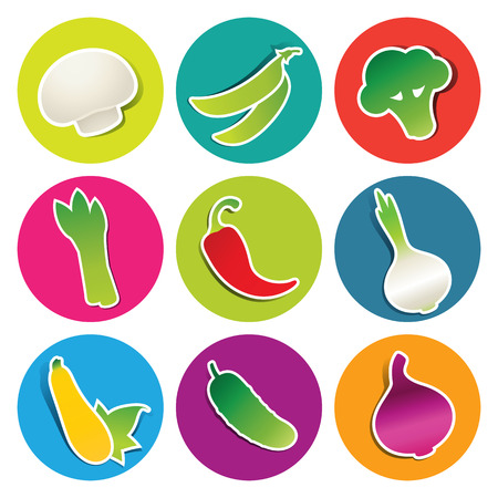 Set of vegetable icons in the circles: asparagus, broccoli, champignon, hot chili pepper, cucumber, onion, peas, tomato, zucchini. Vector illustration. Çizim