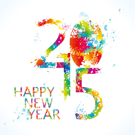 New Years card 2015 with colorful drops and sprays on a white background. Vector illustration.