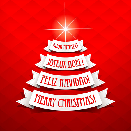 Christmas tree with greetings in different languages on a red background. Vector illustration. Vector