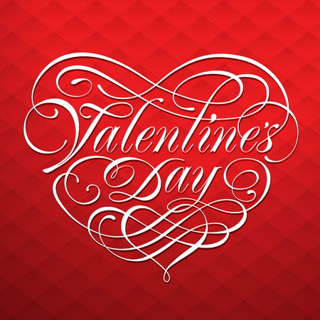 Valentine card with calligraphic lettering on a red background. Vector illustration.