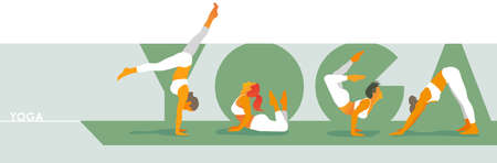Green YOGA lettering with women in white sportswear doing yoga exercises on a gray background. Yoga & Healthy lifestyle. Vector illustration for Yoga day, t-shirt graphic, banner, icon, web, poster