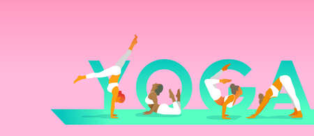 Young women in white sportswear doing yoga exercises on a pink background with YOGA lettering on a green yoga mat. Vector illustration for Yoga day, t-shirt graphics, banners, icons, web, posters