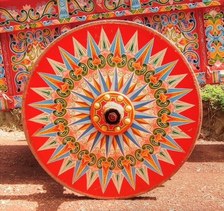 ox: Painted Ox Cart Wheel