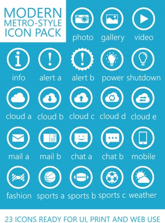 23 Modern Metro Style Icons for Mobile, Touch and Web Interface UI UX  Illustration