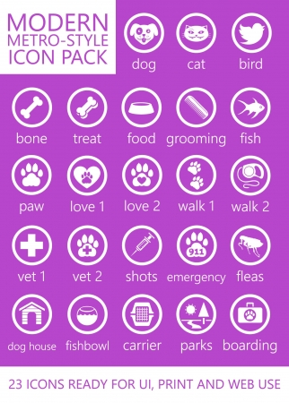 cat grooming: 23 Animal and Pet-Themed Modern Metro Style Icons for Mobile, Touch and Web Interface UI UX