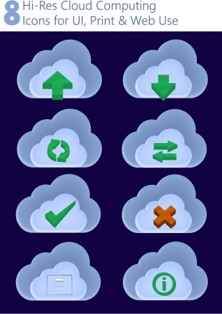 datasheet: 8 Hi-Res Cloud Computing Icons