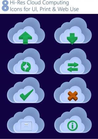 hires: 8 Hi-Res Cloud Computing Icons