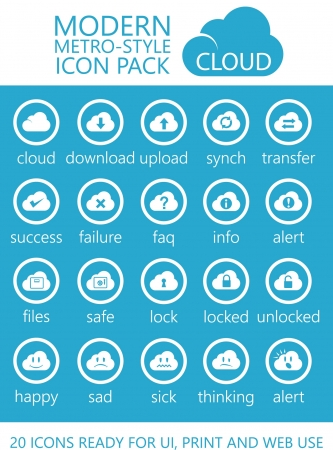 operating system: 20 Modern Metro-Style Cloud Computing Icons of UI, Print and Web Use Illustration