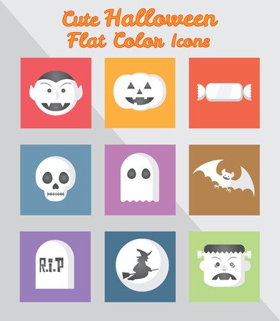 Holloween Flat Color Square Icons Vector