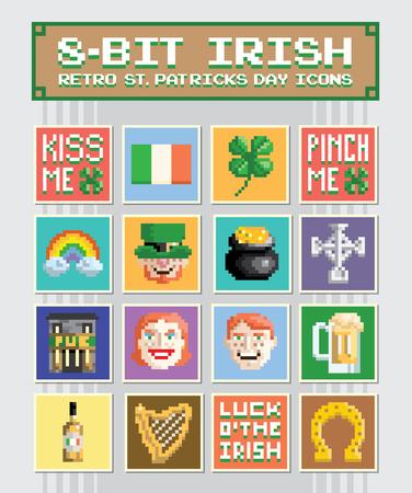 8-Bit Irish - Retro St. Patricks Day Icons or Emojis Illustration