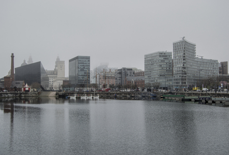 british weather: Fog over liverpool