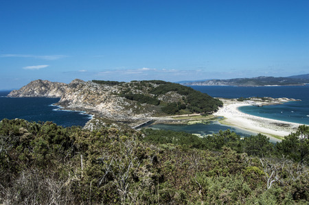ria: View to the Cies Islands Stock Photo