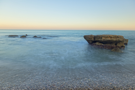 calmness: The Mediterranean sea on the coast of Vinaros, Castellón Stock Photo