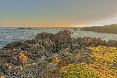 The beach of Ris in Noja, Cantabria Stock Photo
