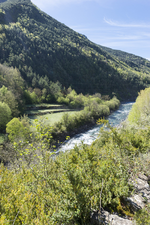 Landscape between broto and torla in the Pyrenees of Huesca