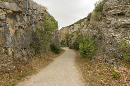 navarra: Greenway of irati in the mouth of lumbier, Navarra