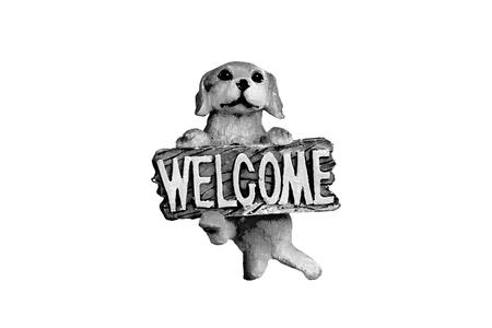 Figure of a small wooden dog welcoming Ilustração