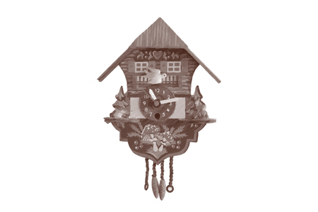 A cuckoo clock with a vector format, isolated on white