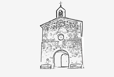 Image of a Christian hermitage with a vector format