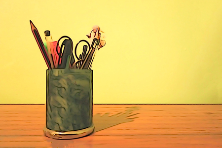 Ilustration A desk with a jar full of pencils, pens and scissors Stock Photo